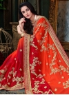 Orange and Red Embroidered Work Trendy Saree - 1