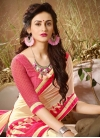 Cream and Rose Pink Lace Work Contemporary Style Saree - 1