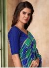 Blue and Green Print Work Classic Saree - 1