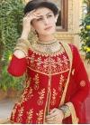 Cream and Red Silk Long Choli Lehenga - 1