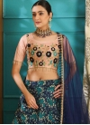 Navy Blue and Peach Designer A Line Lehenga Choli - 1