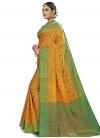 Banarasi Silk Green and Yellow Trendy Saree - 2