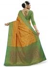 Banarasi Silk Green and Yellow Trendy Saree - 1