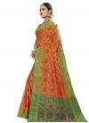 Banarasi Silk Green and Orange Thread Work Trendy Classic Saree - 2