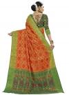 Banarasi Silk Green and Orange Thread Work Trendy Classic Saree - 1