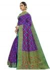 Banarasi Silk Thread Work Blue and Green Traditional Saree - 1