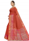 Fuchsia and Tomato Traditional Designer Saree - 1