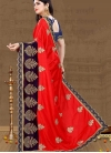 Art Silk Navy Blue and Red Trendy Saree - 2