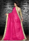 Rose Pink and White Embroidered Work Half N Half Saree - 2