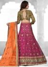 Beads Work Fuchsia and Orange A - Line Lehenga - 2