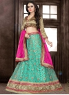Rose Pink and Turquoise Beads Work Trendy Lehenga Choli - 1