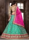 Rose Pink and Turquoise Beads Work Trendy Lehenga Choli - 2