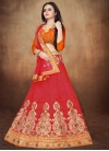 Orange and Red Booti Work A Line Lehenga Choli - 1