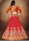Orange and Red Booti Work A Line Lehenga Choli - 2