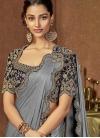 Grey and Navy Blue Embroidered Work Trendy Designer Saree - 1