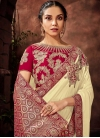 Embroidered Work Brocade Cream and Red Traditional Saree - 1