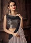 Jacquard Silk Beige and Black Lace Work Lehenga Style Saree - 1