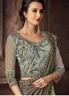 Aqua Blue and Grey Embroidered Work Designer Lehenga Saree - 1