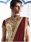 Attractive Cream and Maroon Embroidered Work Designer Lehenga Style Saree - 1