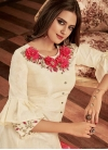 Embroidered Work Tafeta Silk Cream and Rose Pink Readymade Trendy Gown - 1