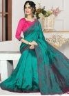 Rose Pink and Teal Art Silk Contemporary Style Saree - 1