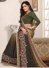 Beige and Brown Beads Work Trendy Classic Saree - 1