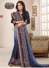 Light Blue and Navy Blue Designer Contemporary Style Saree - 1