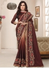 Beads Work Beige and Coffee Brown Traditional Designer Saree - 1