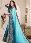 Beads Work Art Silk Teal and Turquoise Designer Contemporary Saree - 1