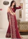Art Silk Beige and Maroon Beads Work Contemporary Style Saree - 1