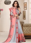 Grey and Salmon Designer Contemporary Style Saree For Ceremonial - 1