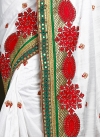 Red and White Bhagalpuri Silk Trendy Designer Saree - 2