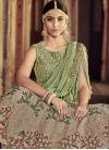 Beige and Mint Green Long Choli Lehenga For Bridal - 1