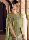 Beige and Mint Green Long Choli Lehenga For Bridal - 2