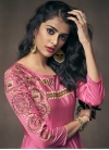 Satin Silk Embroidered Work Readymade Long Length Gown - 1