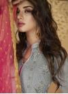 Grey and Rose Pink Pant Style Salwar Kameez For Ceremonial - 1