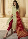 Mint Green and Red Embroidered Work Pant Style Designer Salwar Suit - 1