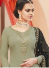 Embroidered Work Faux Georgette Black and Sea Green Palazzo Designer Salwar Suit - 1