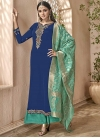 Embroidered Work Aqua Blue and Navy Blue Palazzo Style Pakistani Salwar Kameez - 1