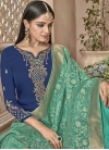 Embroidered Work Aqua Blue and Navy Blue Palazzo Style Pakistani Salwar Kameez - 2
