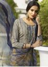 Beige and Navy Blue Pant Style Salwar Kameez - 1