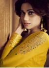 Shamita Shetty Green and Yellow Embroidered Work Palazzo Style Pakistani Salwar Suit - 2