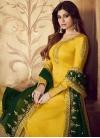 Shamita Shetty Green and Yellow Embroidered Work Palazzo Style Pakistani Salwar Suit - 1