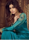 Shamita Shetty Light Blue and Navy Blue Palazzo Style Pakistani Salwar Kameez For Ceremonial - 1