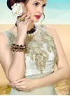 Off White and Olive Satin Beads Work Readymade Classic Gown - 1