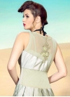 Off White and Olive Satin Beads Work Readymade Classic Gown - 2