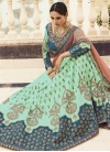 Light Blue and Turquoise Satin Silk Designer Classic Lehenga Choli - 1