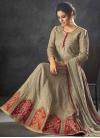 Raw Silk Embroidered Work Floor Length Anarkali Salwar Suit - 1