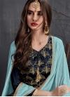 Satin Georgette Navy Blue and Turquoise Designer Palazzo Salwar Kameez - 1