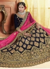 Embroidered Work Velvet A Line Lehenga Choli - 1